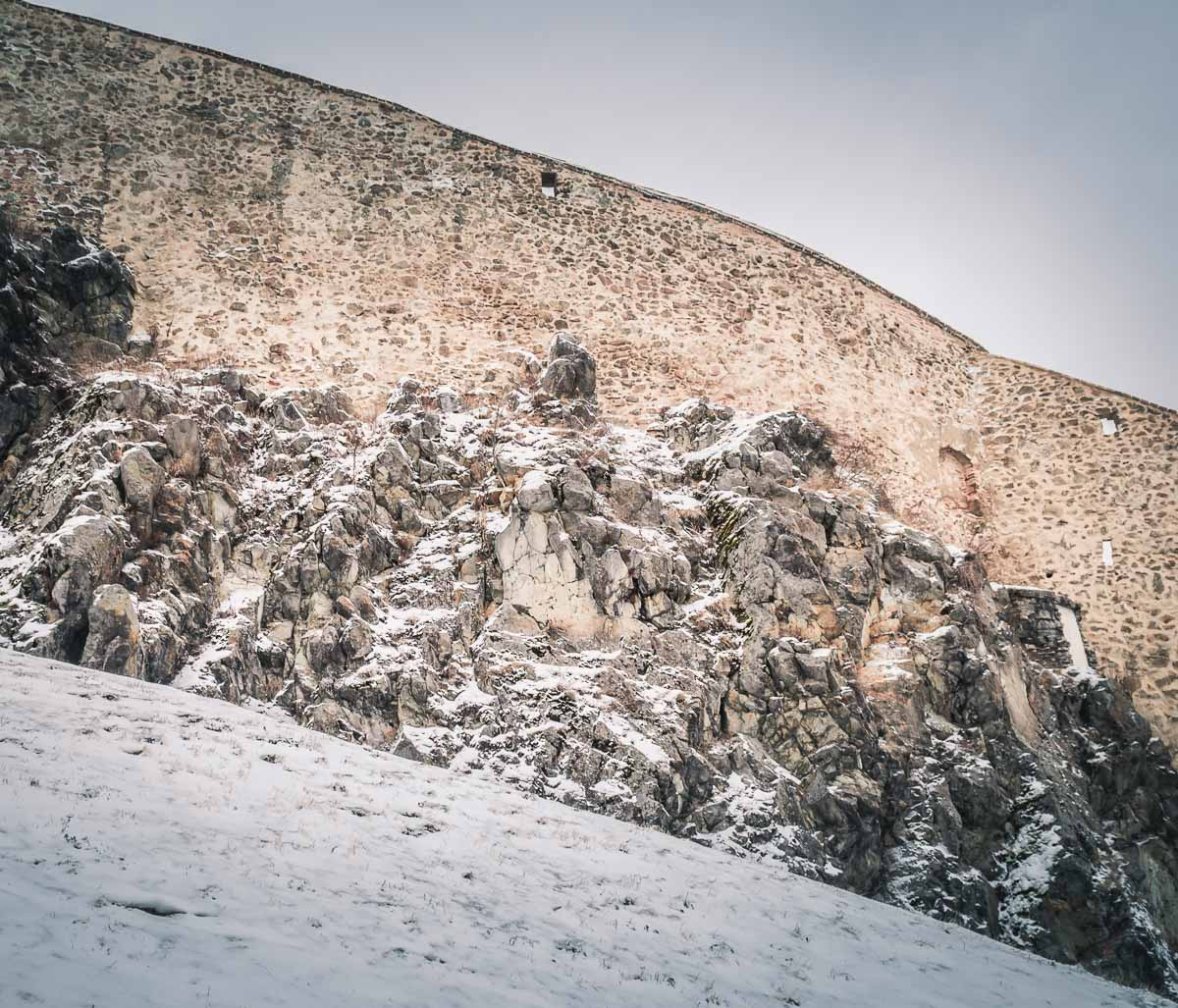 Large rocks and the defense wall.