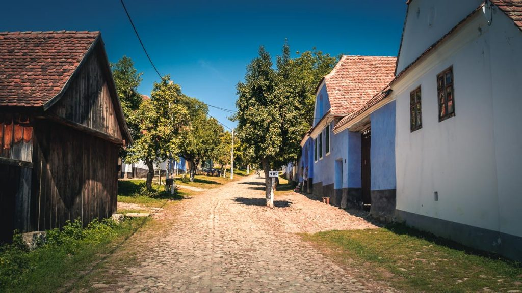 Paved street which leads to the Fortified Church in Viscri.