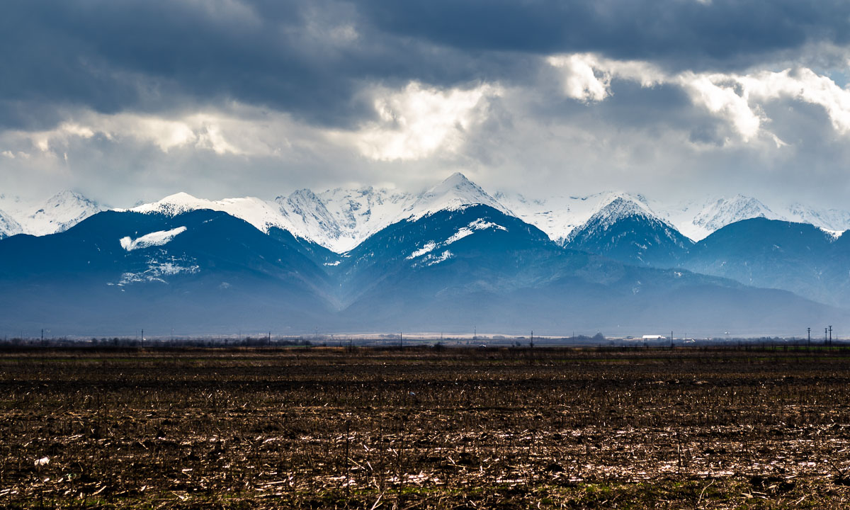 View of the Fagaras mountains from the village of Carta.