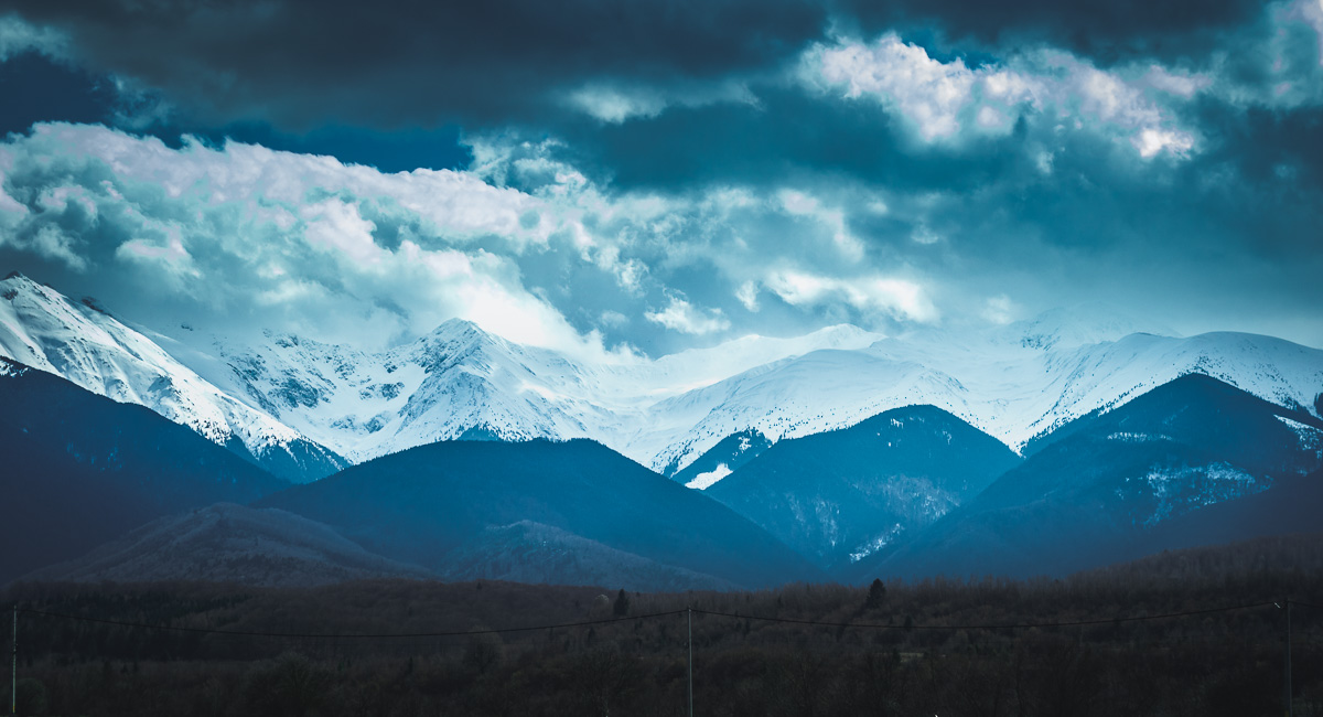 Mountains with snow on their peaks.