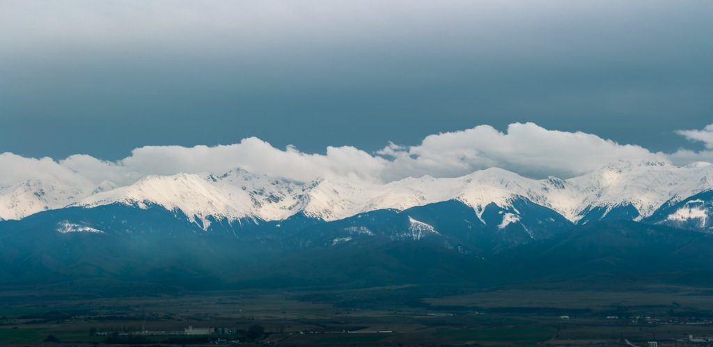 Panoramic view of the Fagaras mountains.