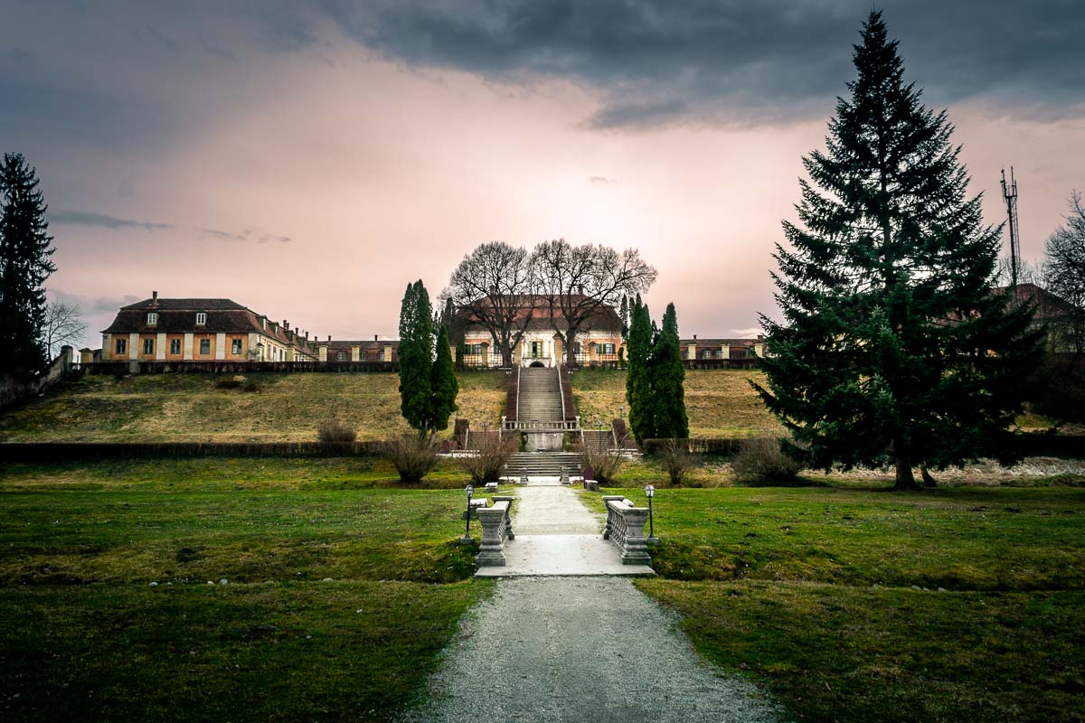Photo of the Brukenthal Palace from the palace gardens.