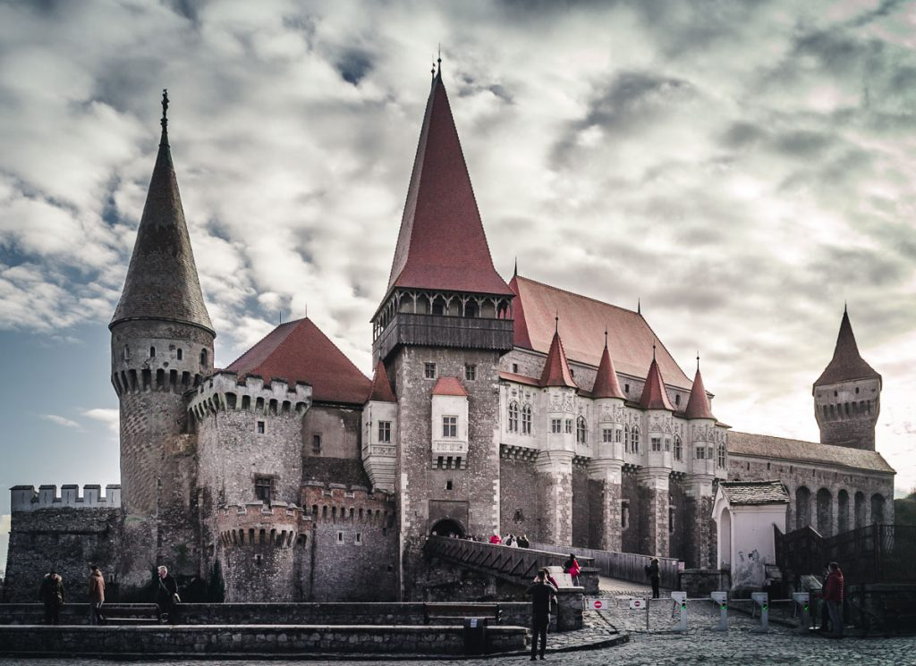 The main entrance into the Corvin Castle in Hunedoara.