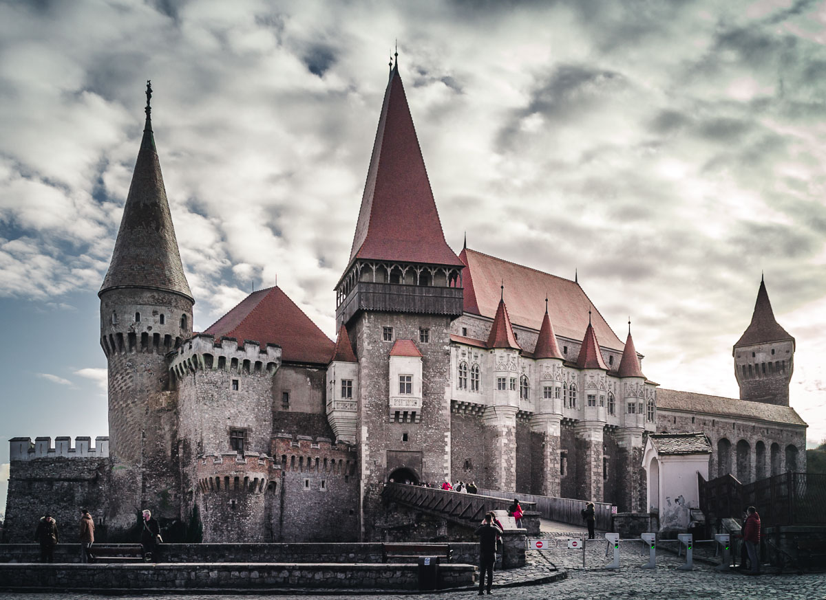 The main entrance into the Corvin Castle in Hunedoara.