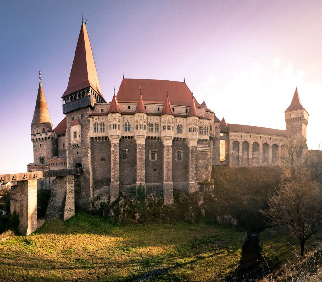 The Corvin Castle at sunset.