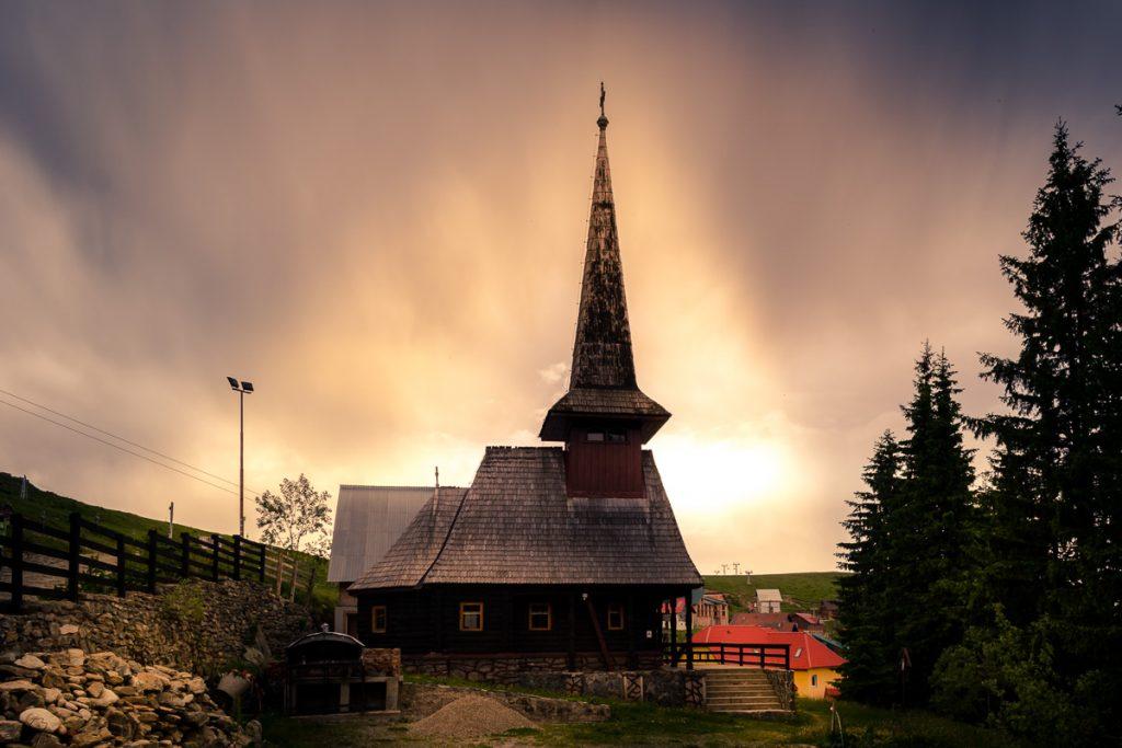Wooden church in Muntele Mic resort.
