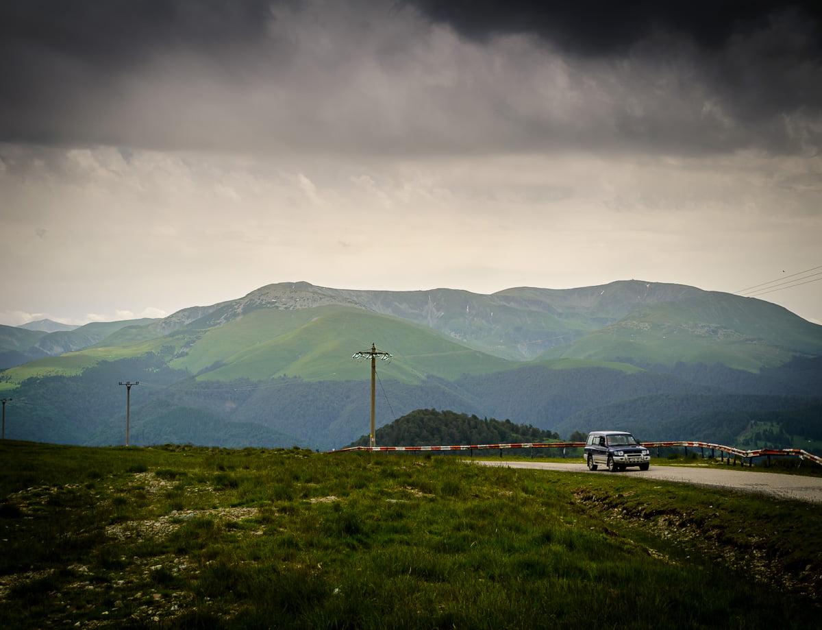 The Țarcu mountains view from Muntele Mic.