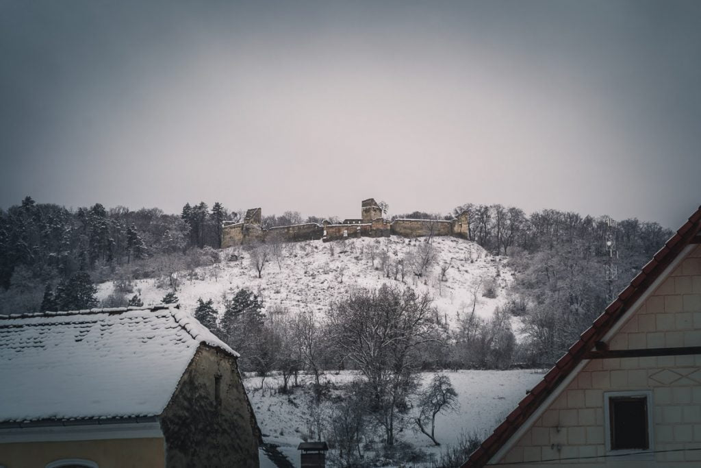Ruins of the old fortress in Saschiz.