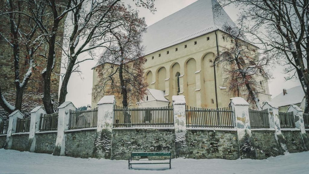 The church behind the defense tower.