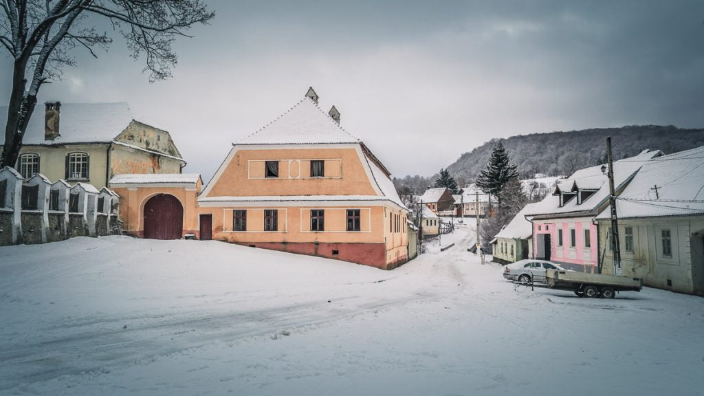 Old traditional Saxon houses in winter.
