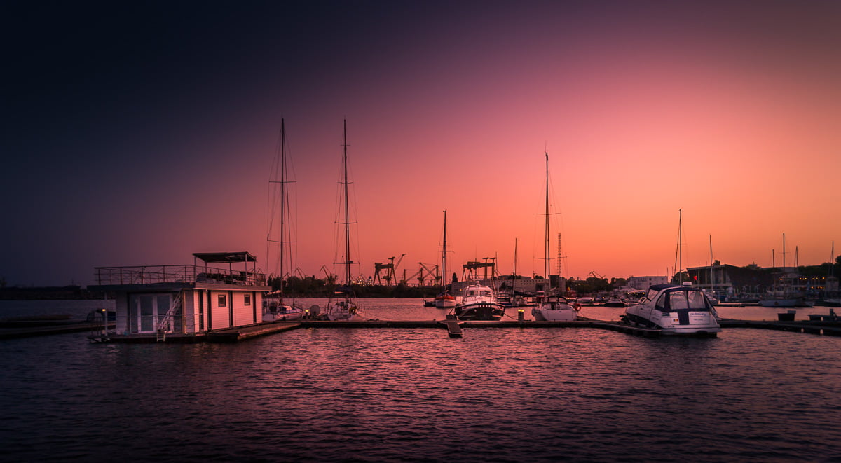 The touristic port in Mangalia at sunset.
