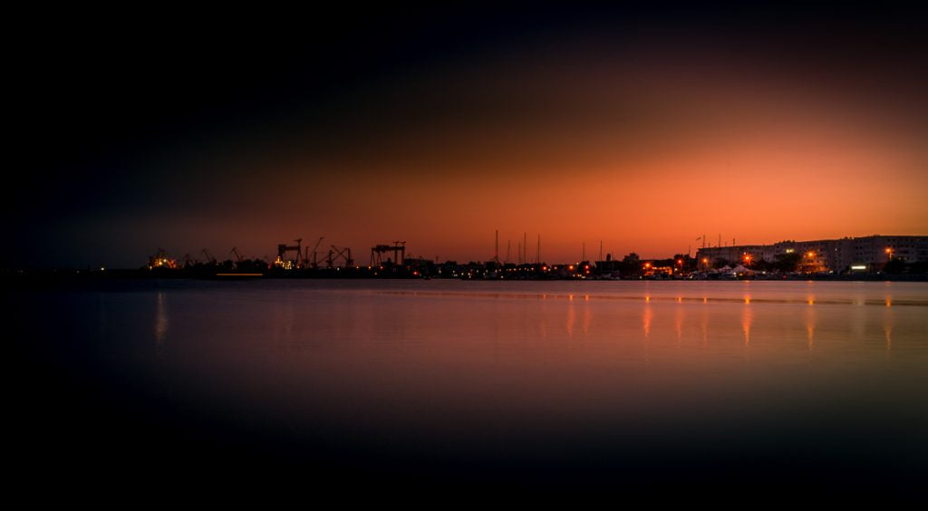 The port in Mangalia at dusk.