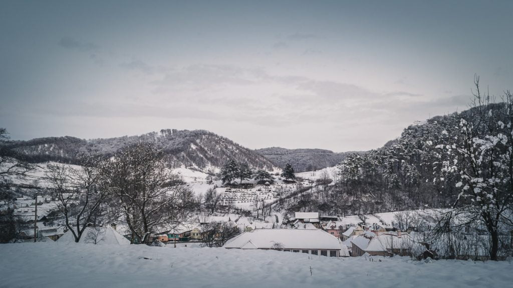 Large hills which surrounds the village in winter.