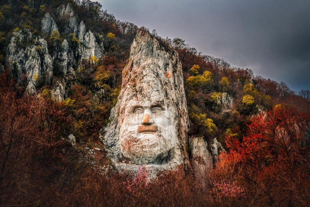 The rock sculpture of Decebalus Rex in the Iron Gates.