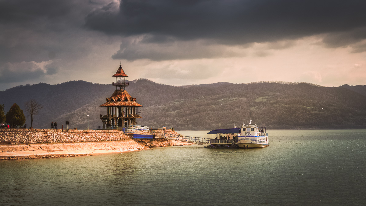The Dragalina park in Orșova with a cruise ship which takes the tourists to the Iron Gates.