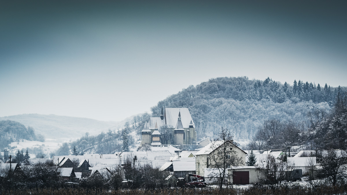 The commune of Biertan with the fortified church in the center.