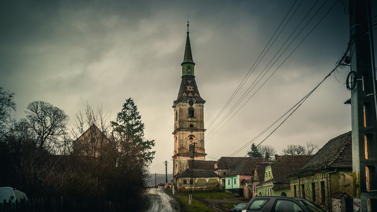 The Evangelical church tower in the village of Daia.