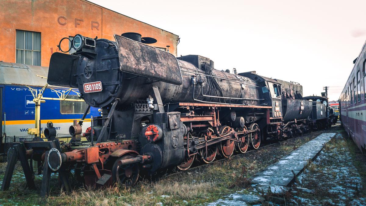 The CFR 150.1105 steam locomotive in Sibiu.