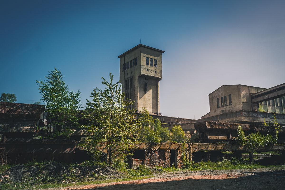 Large mine shaft and narrow gauge coal hoppers.