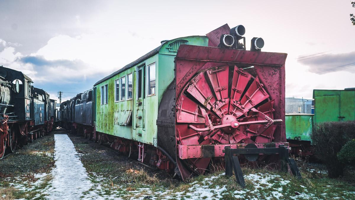 Steam plow in the Sibiu steam locomotive museum.