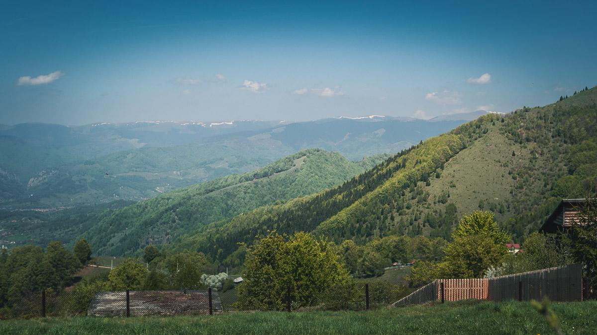 Snow on the peak of the Şureanu Mountains.