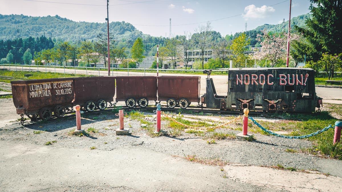 Mine train in the former coal mine of Petrila.