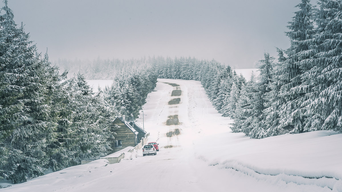 The road which leads Semenic resort.