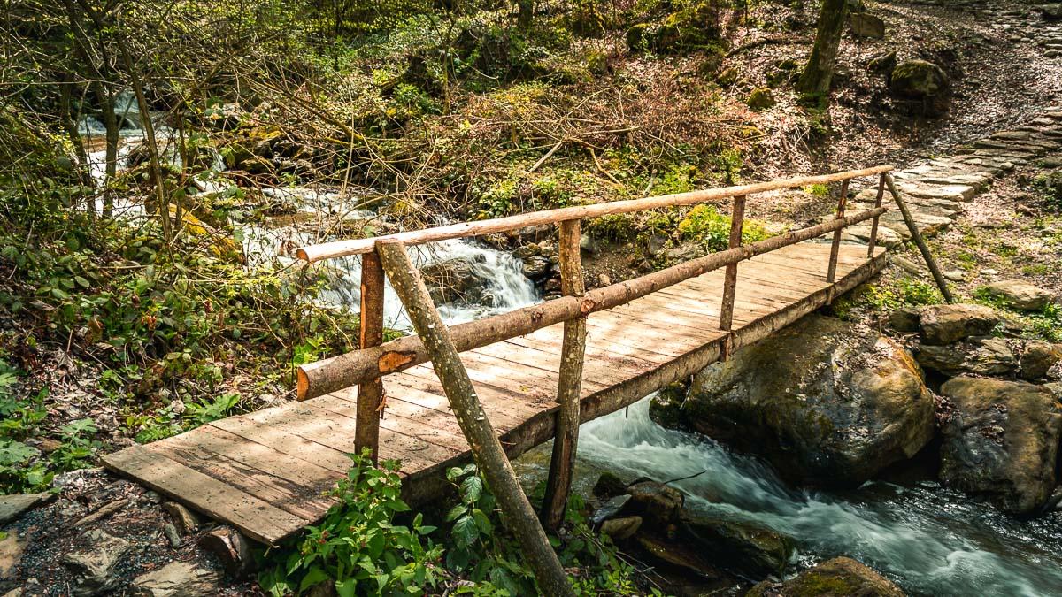 Wooden bridge close to the Şopot waterfall.