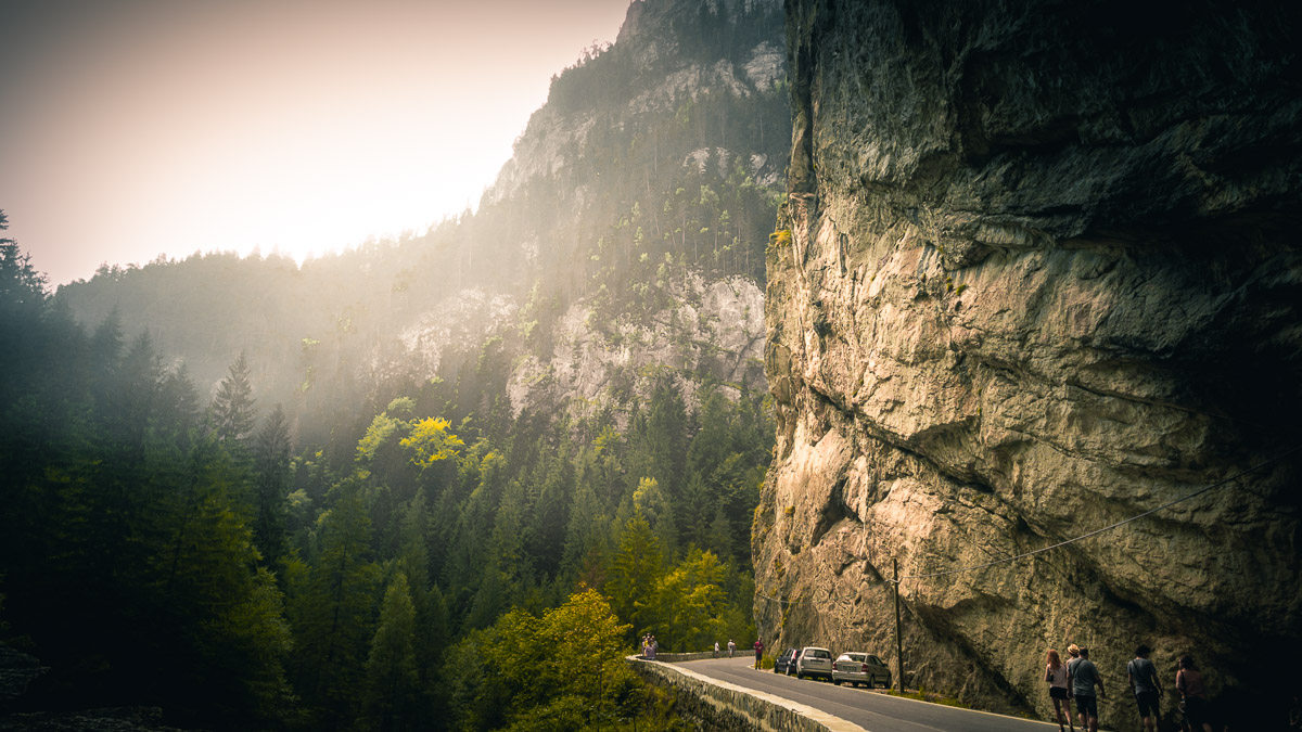 Sunlight on the steep cliffs in the Bicaz gorge.