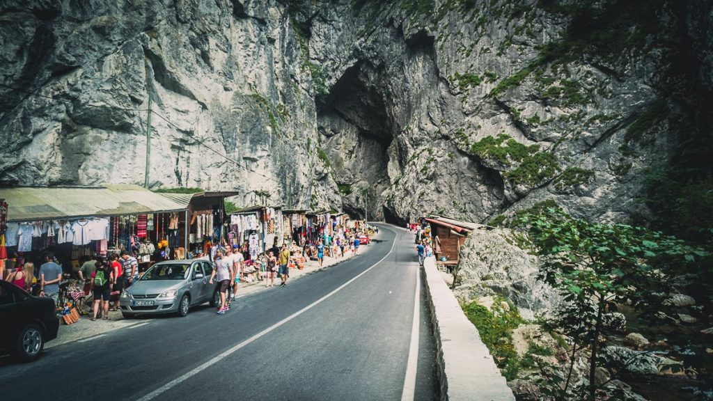 Shops next to the road in Bicaz gorge