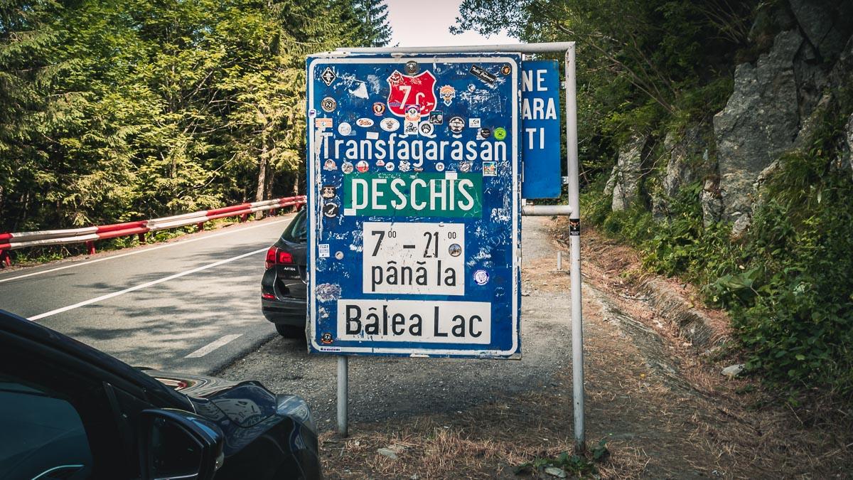 Transfăgărășan road sign at Bâlea Waterfall.